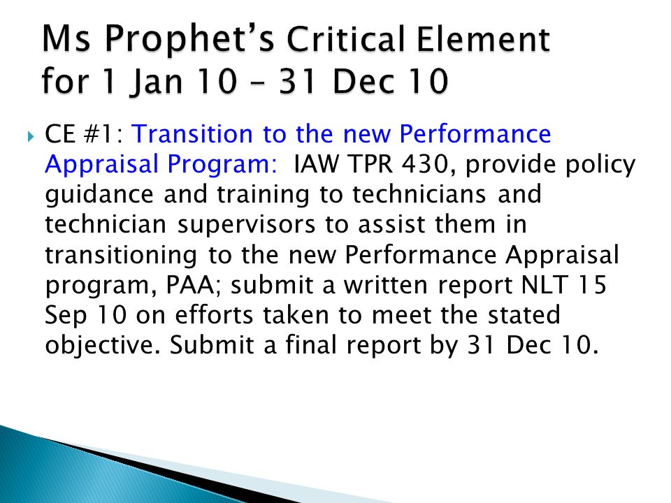 Ms Prophet's Critical Element for 1 Jan 10 – 31 Dec 10