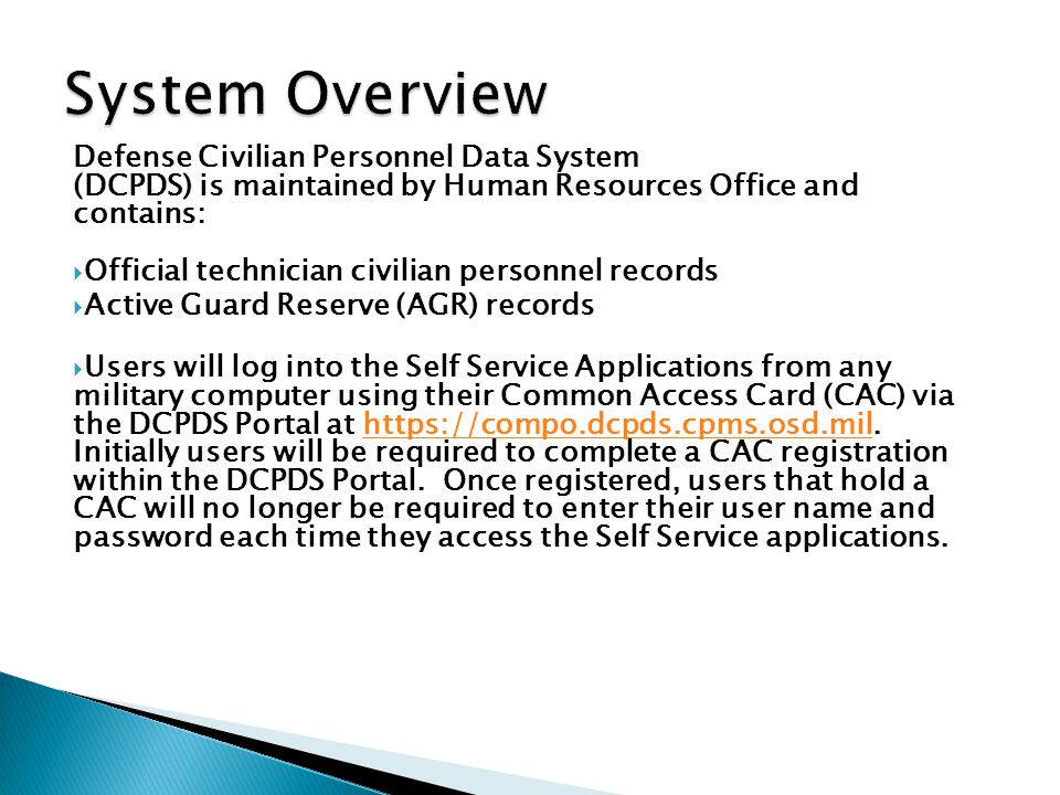 System Overview Defense Civilian Personnel Data System