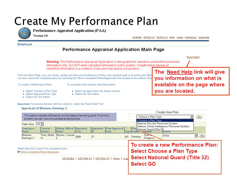 Create My Performance Plan