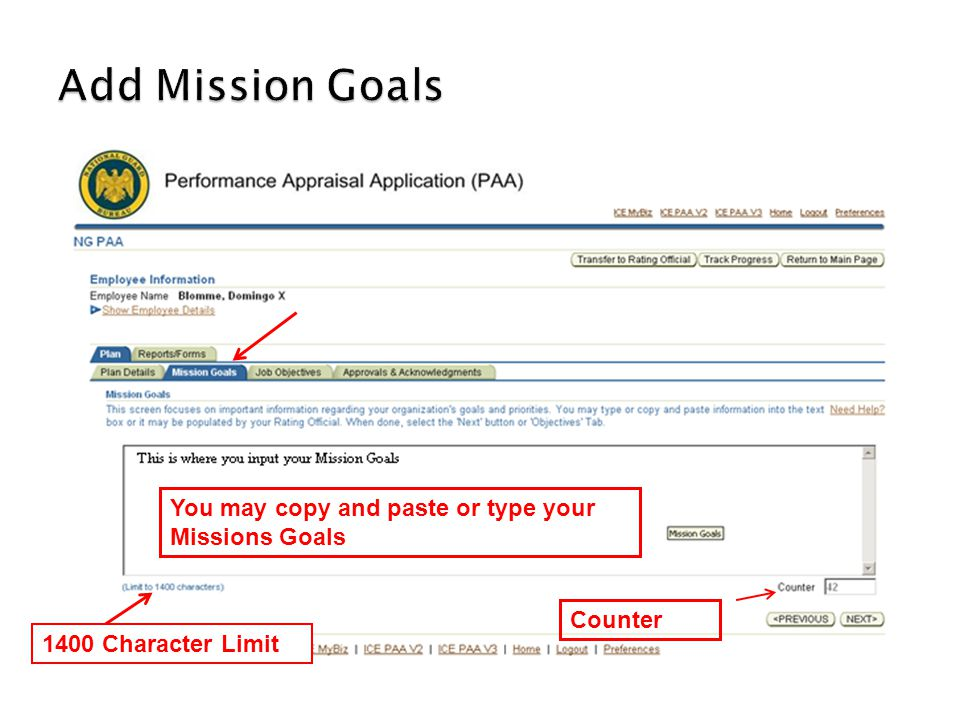 Add Mission Goals You may copy and paste or type your Missions Goals