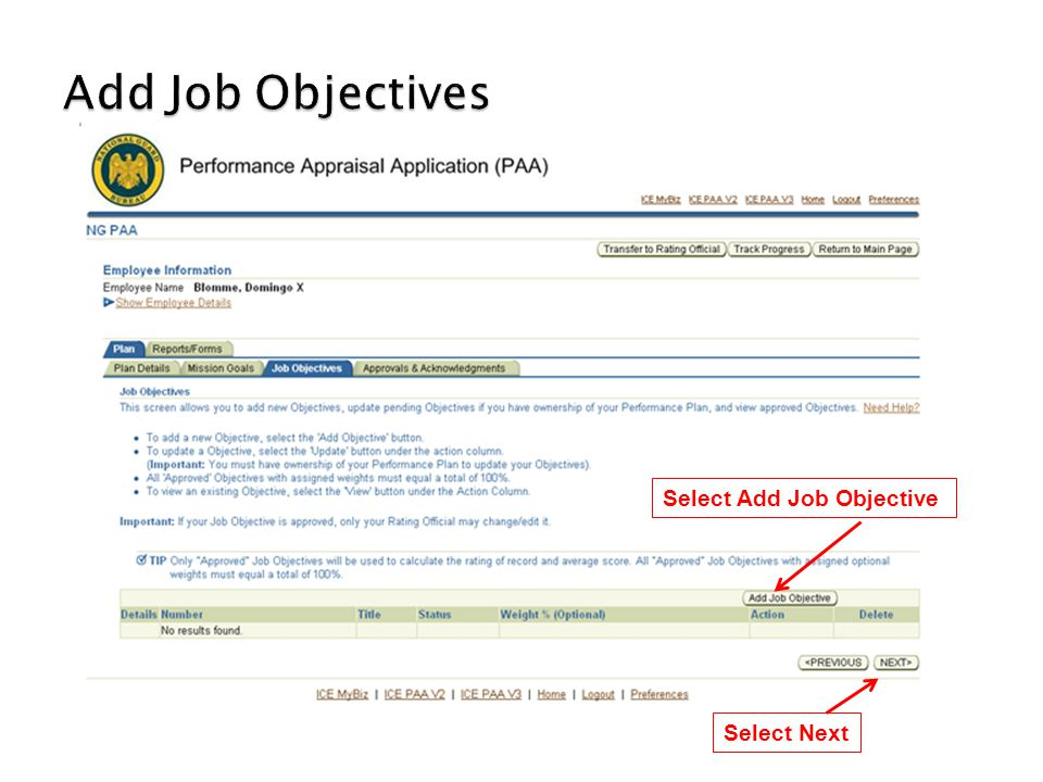 Add Job Objectives Select Add Job Objective Select Next