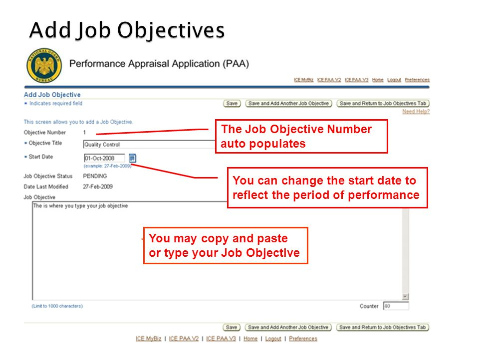 Add Job Objectives The Job Objective Number auto populates
