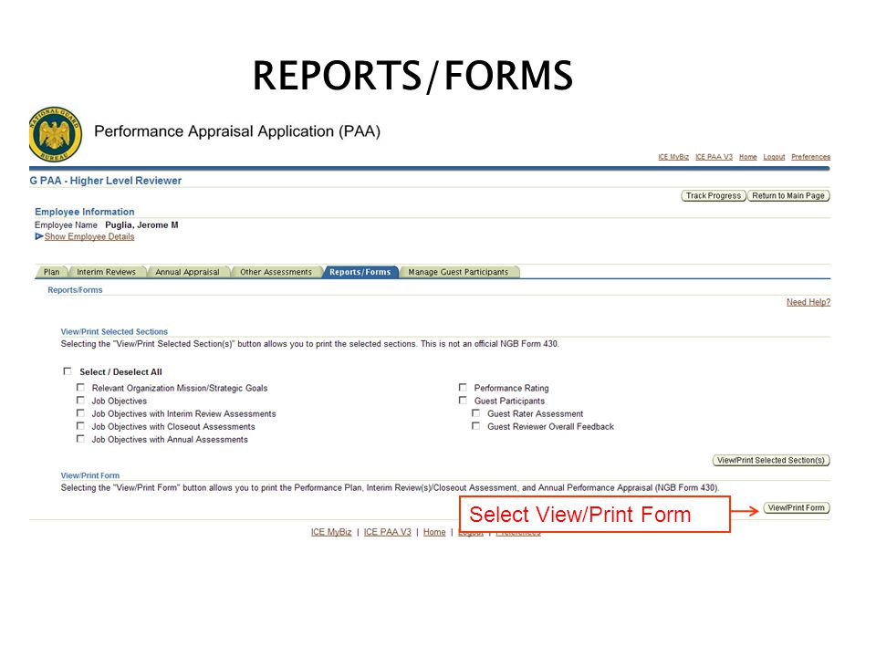 REPORTS/FORMS Select View/Print Form