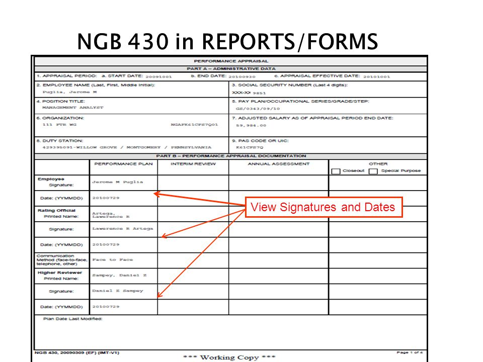 NGB 430 in REPORTS/FORMS View Signatures and Dates