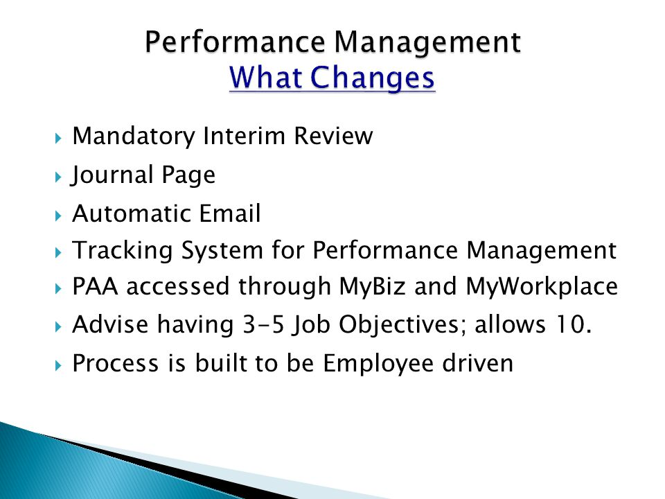 Performance Management What Changes