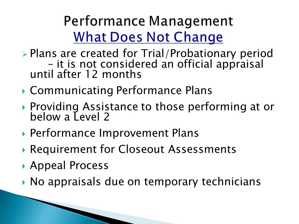 Performance Management What Does Not Change