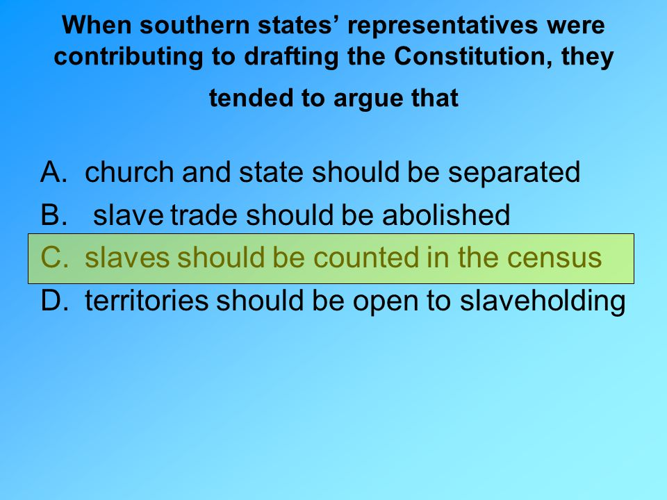 church and state should be separated slave trade should be abolished