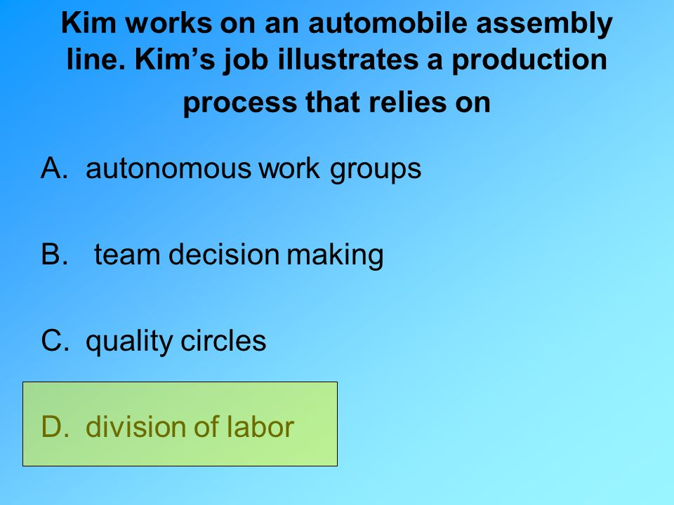 Kim works on an automobile assembly line