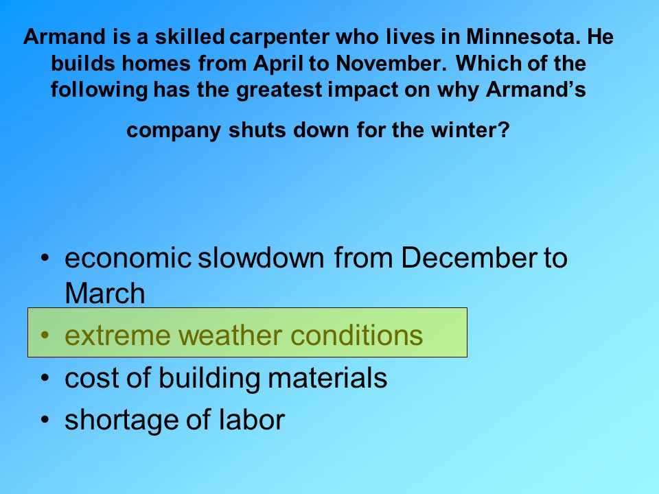 economic slowdown from December to March extreme weather conditions