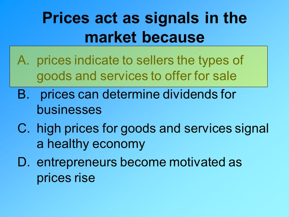 Prices act as signals in the market because