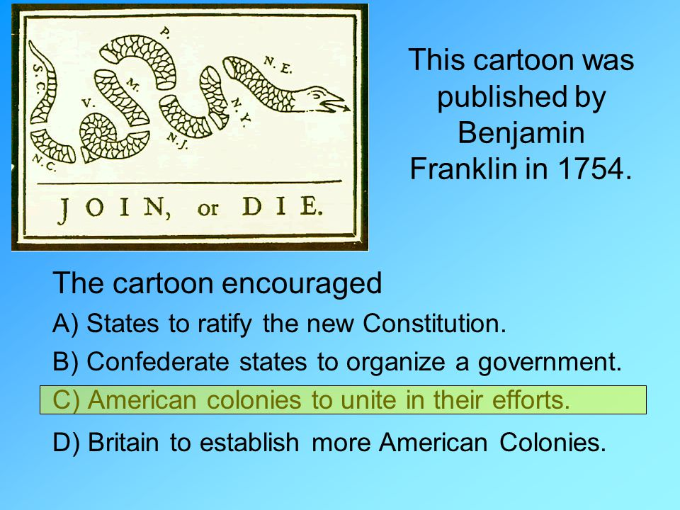 This cartoon was published by Benjamin Franklin in 1754.