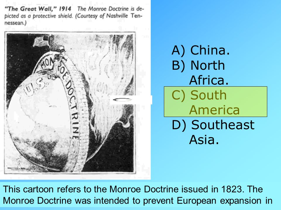 China. B) North Africa. C) South America D) Southeast Asia.