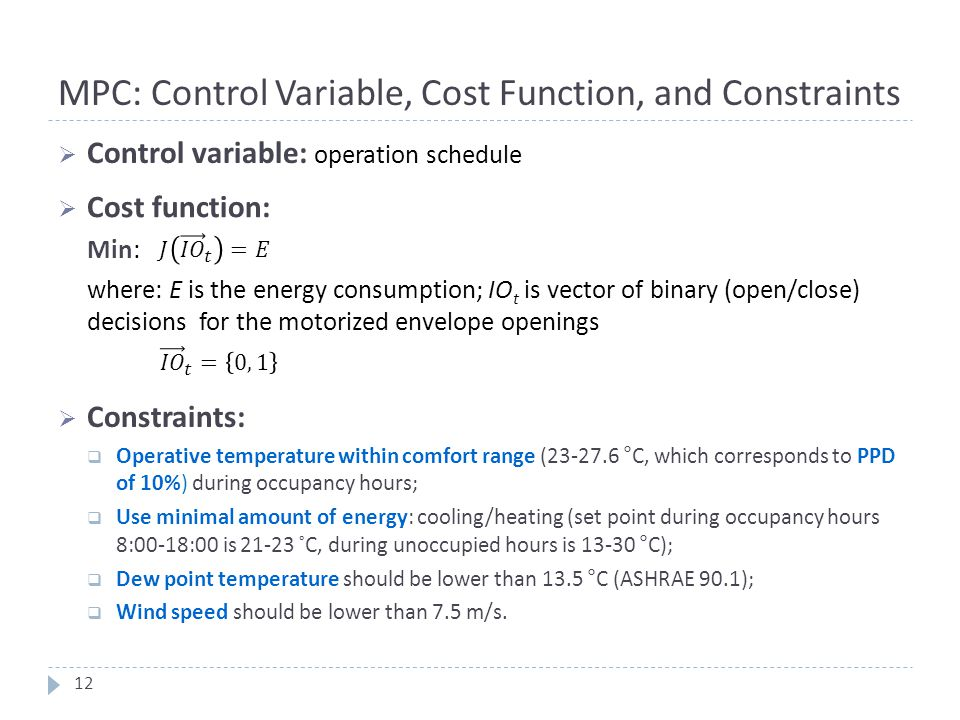 MPC: Control Variable, Cost Function, and Constraints