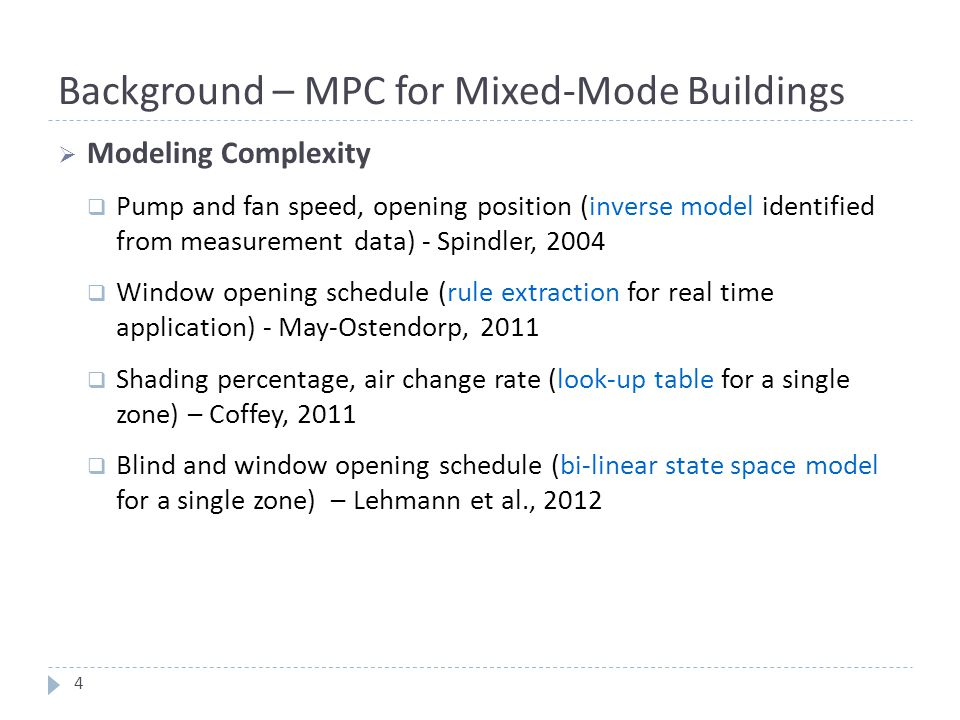 Background – MPC for Mixed-Mode Buildings
