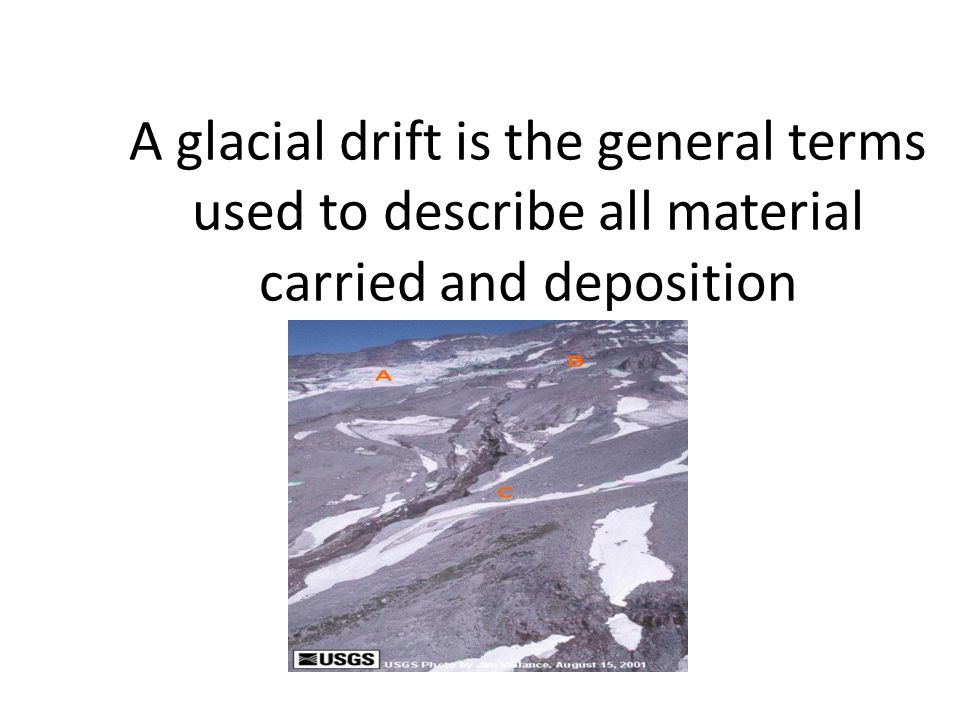 A glacial drift is the general terms used to describe all material carried and deposition