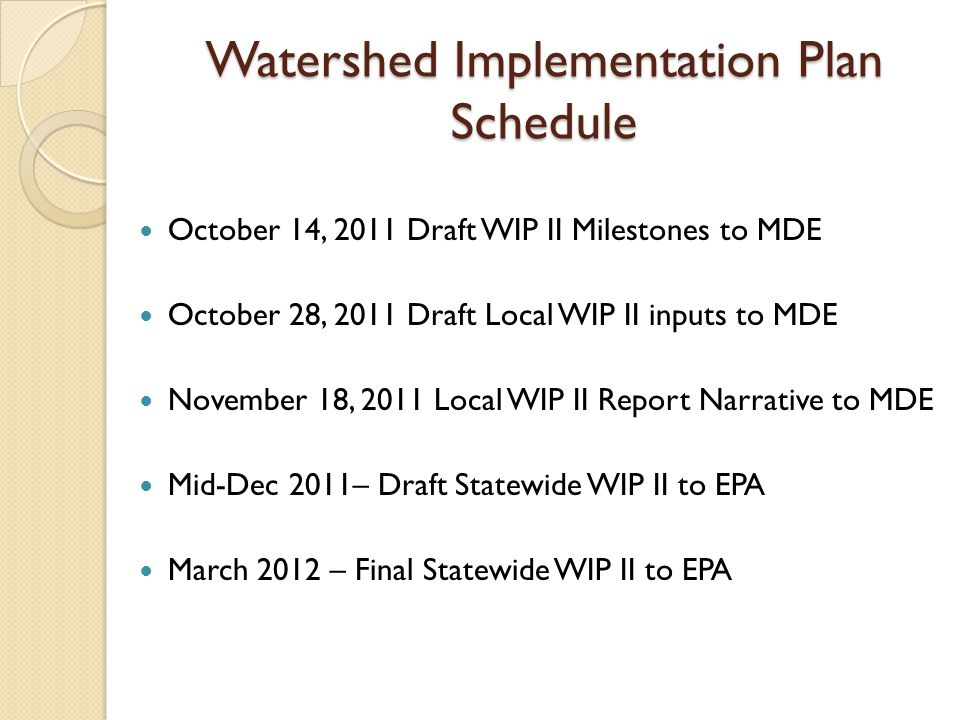 Watershed Implementation Plan Schedule