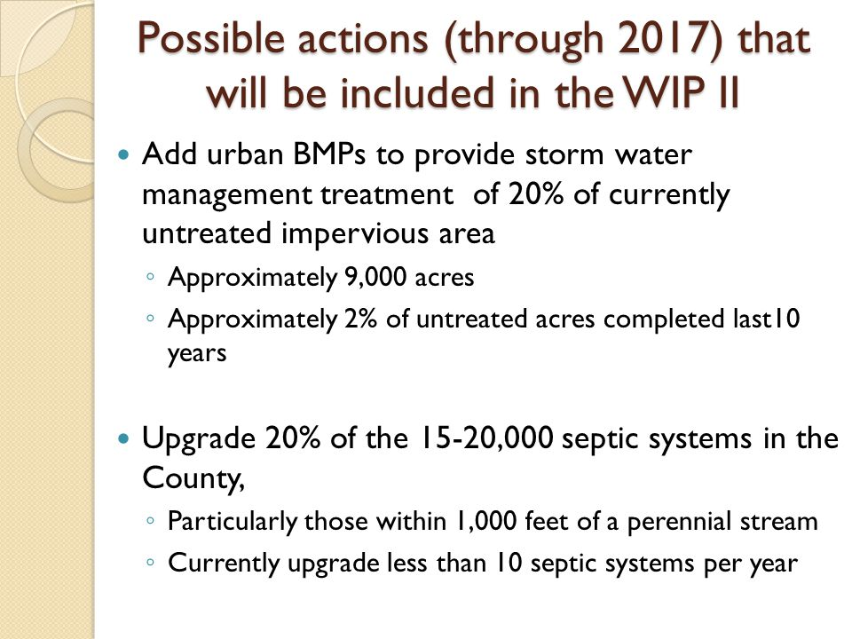Possible actions (through 2017) that will be included in the WIP II