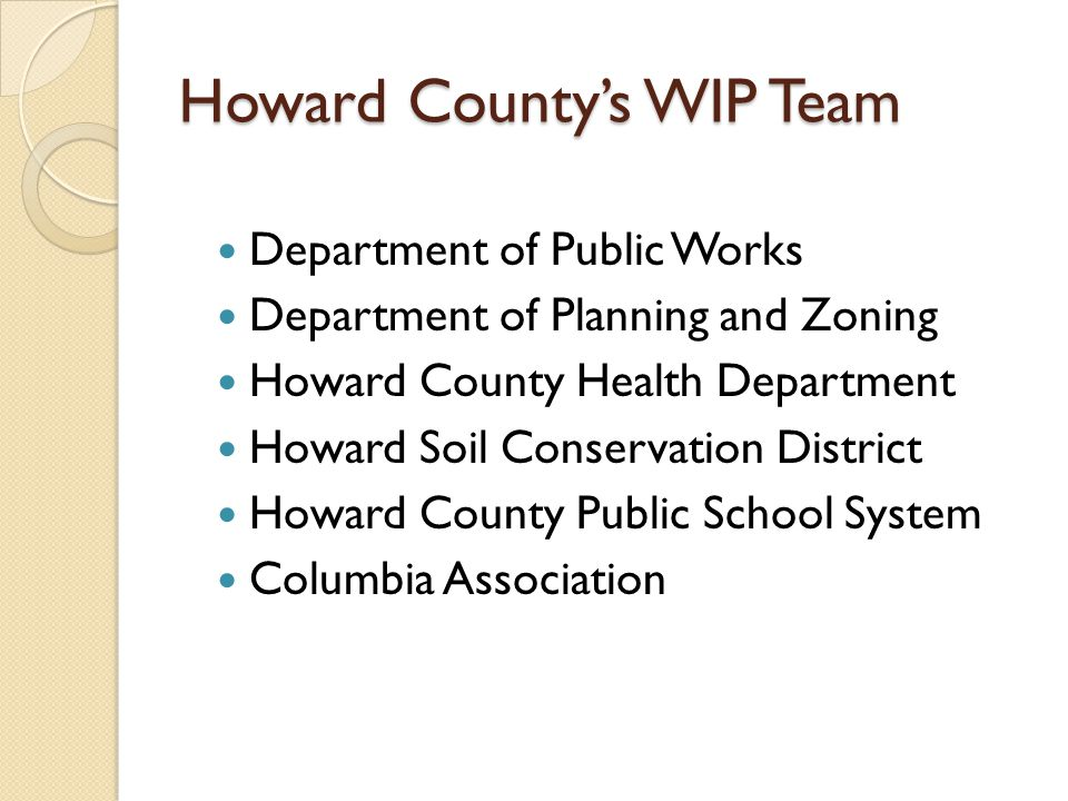 Howard County's WIP Team