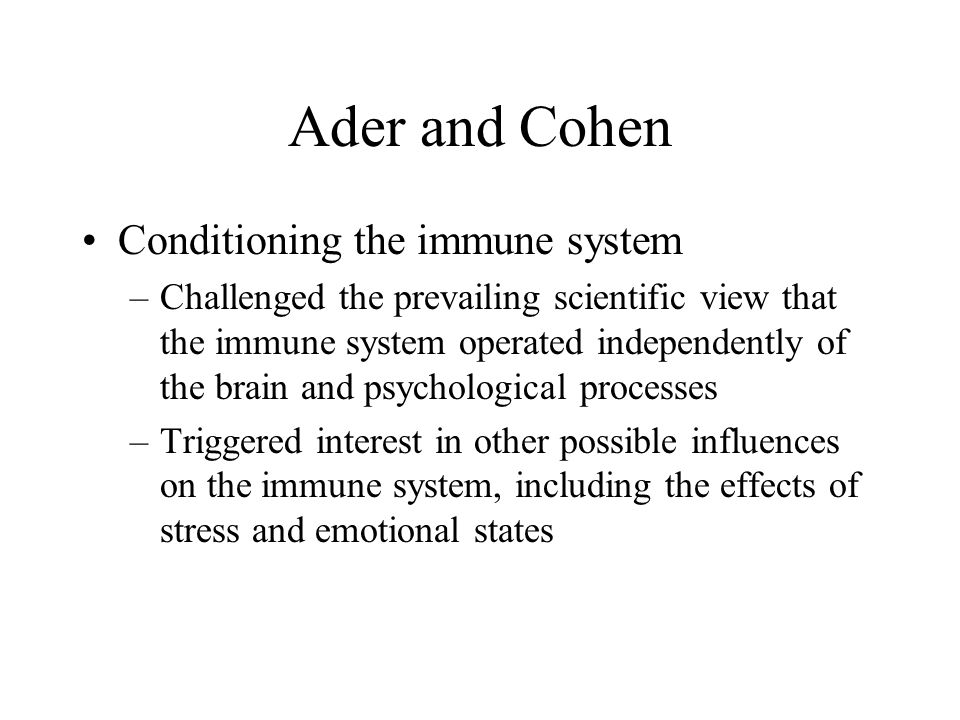 Ader and Cohen Conditioning the immune system