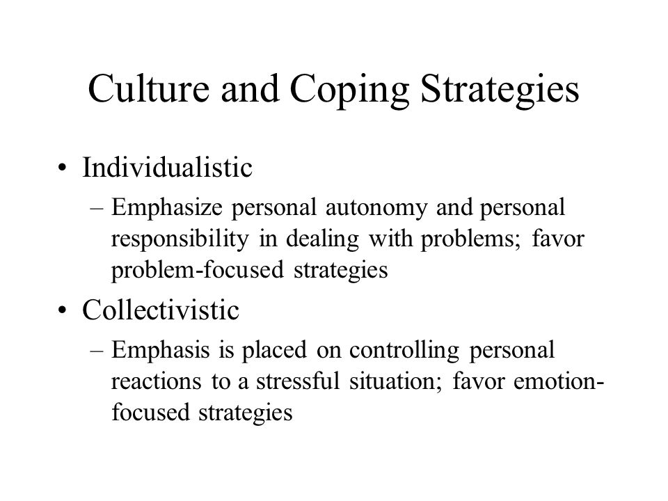 Culture and Coping Strategies