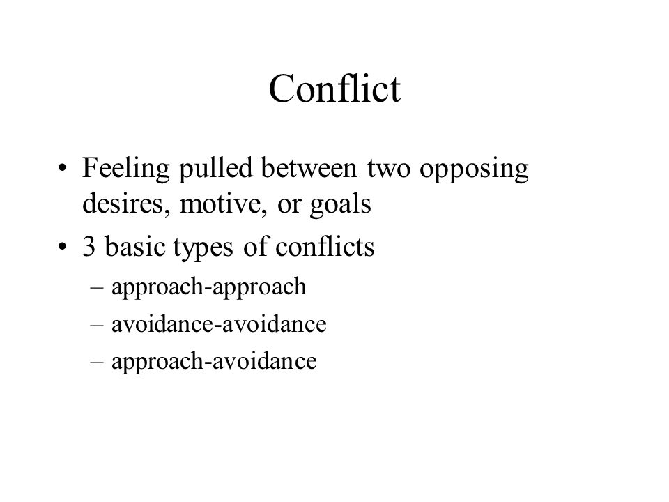 Conflict Feeling pulled between two opposing desires, motive, or goals