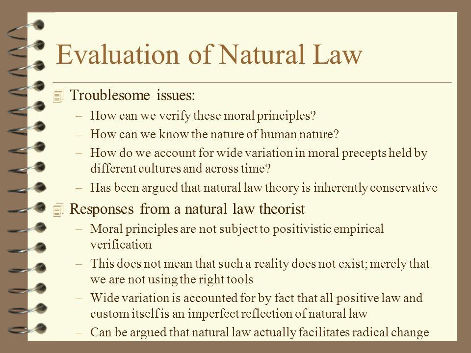 Evaluation of Natural Law