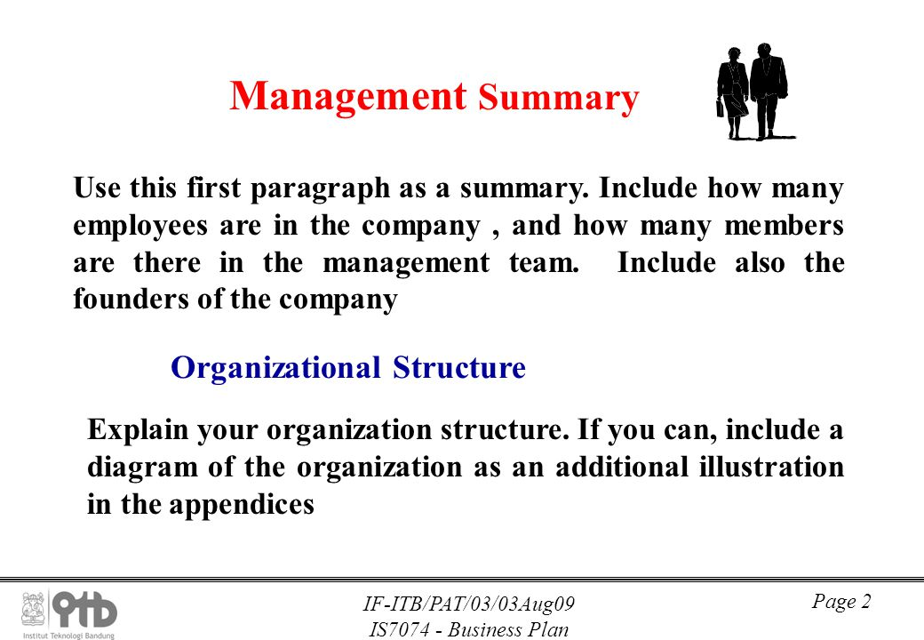business organizations summary Business plans loans how to write an executive summary the executive summary is also an important way for you, as the entrepreneur, to determine which aspects of your company have the.