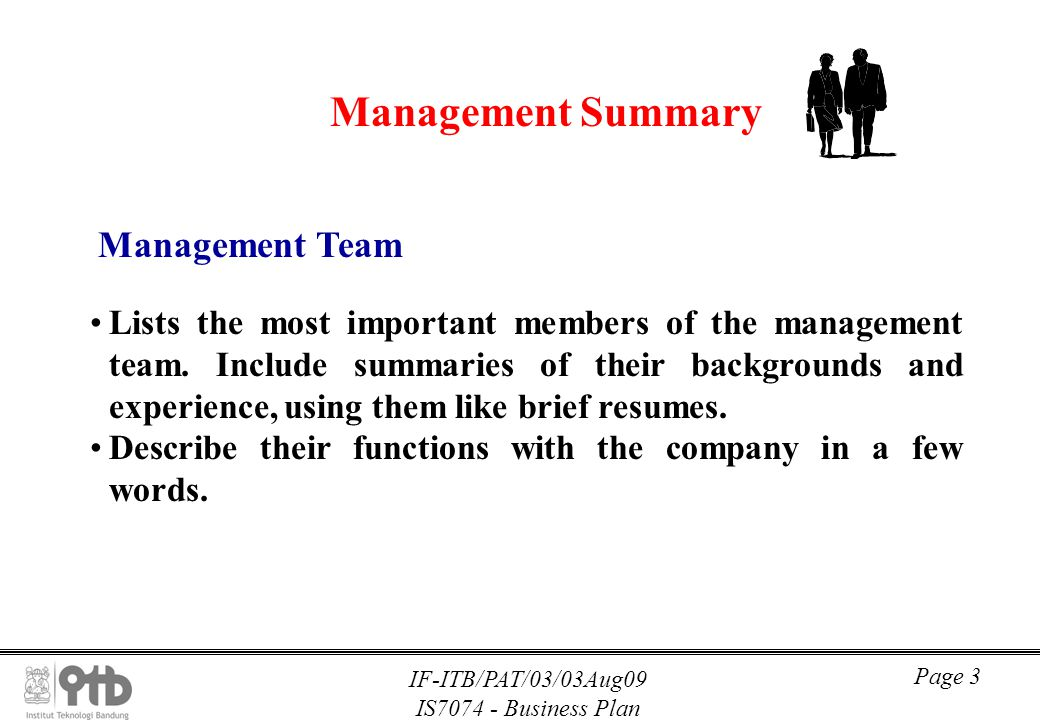 Management Summary Management Team