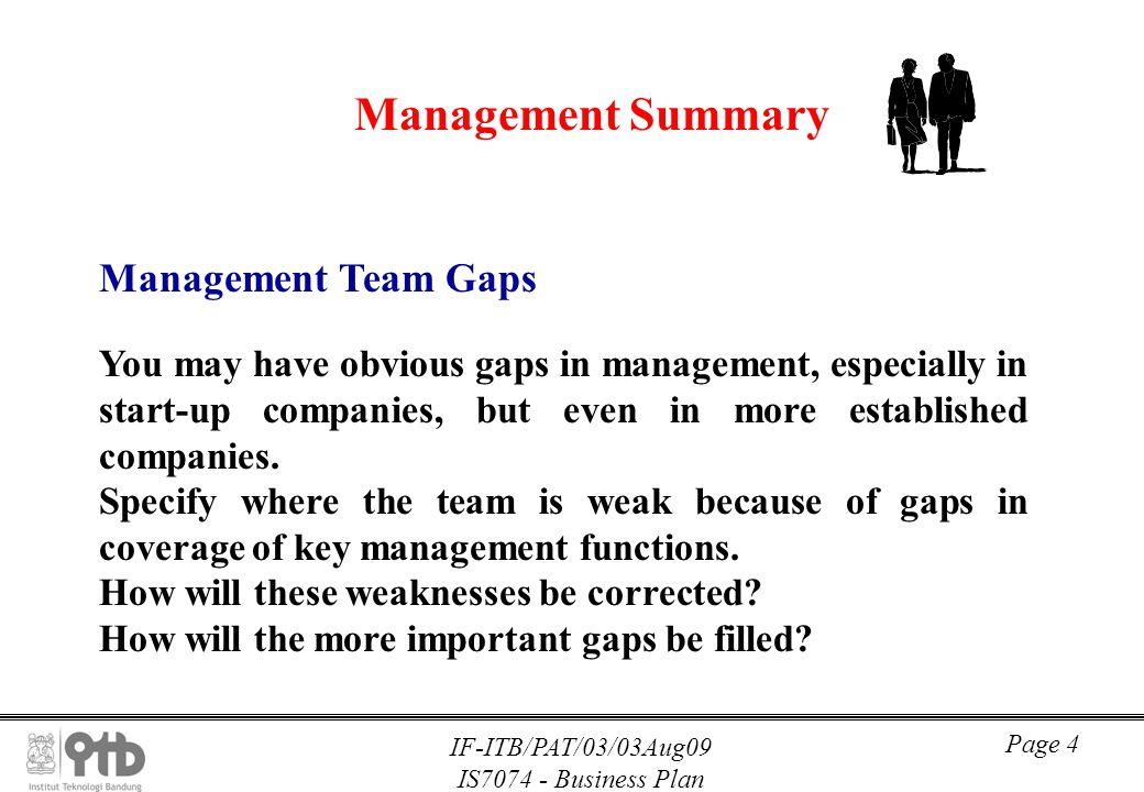 Management Summary Management Team Gaps