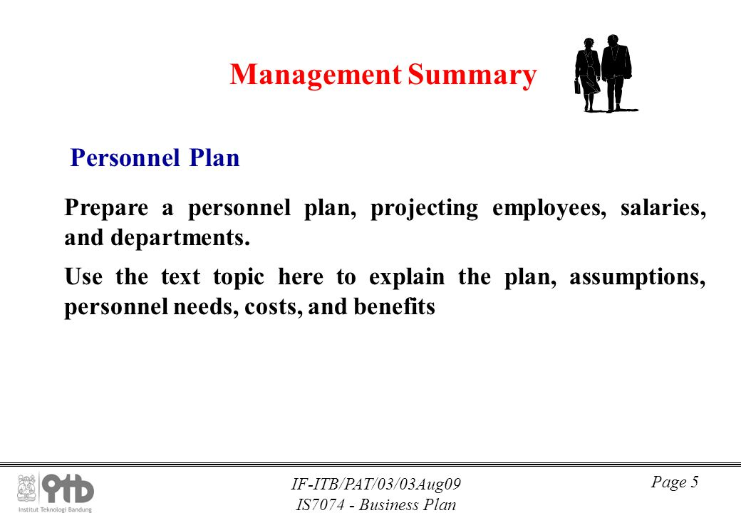 Management Summary Personnel Plan