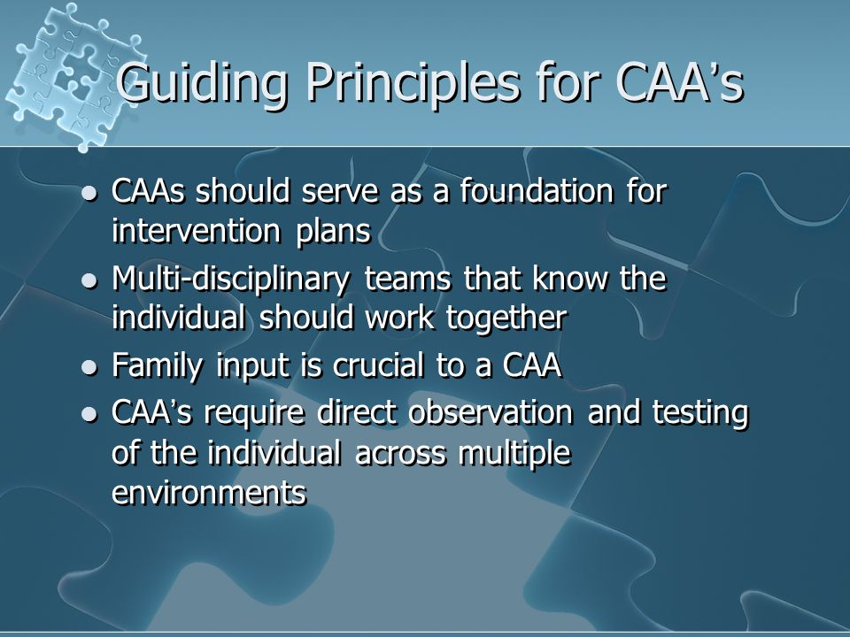 Guiding Principles for CAA's