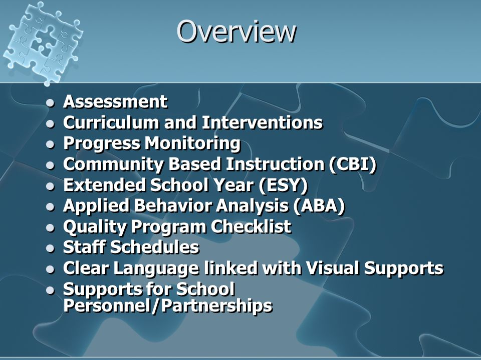 Overview Assessment Curriculum and Interventions Progress Monitoring