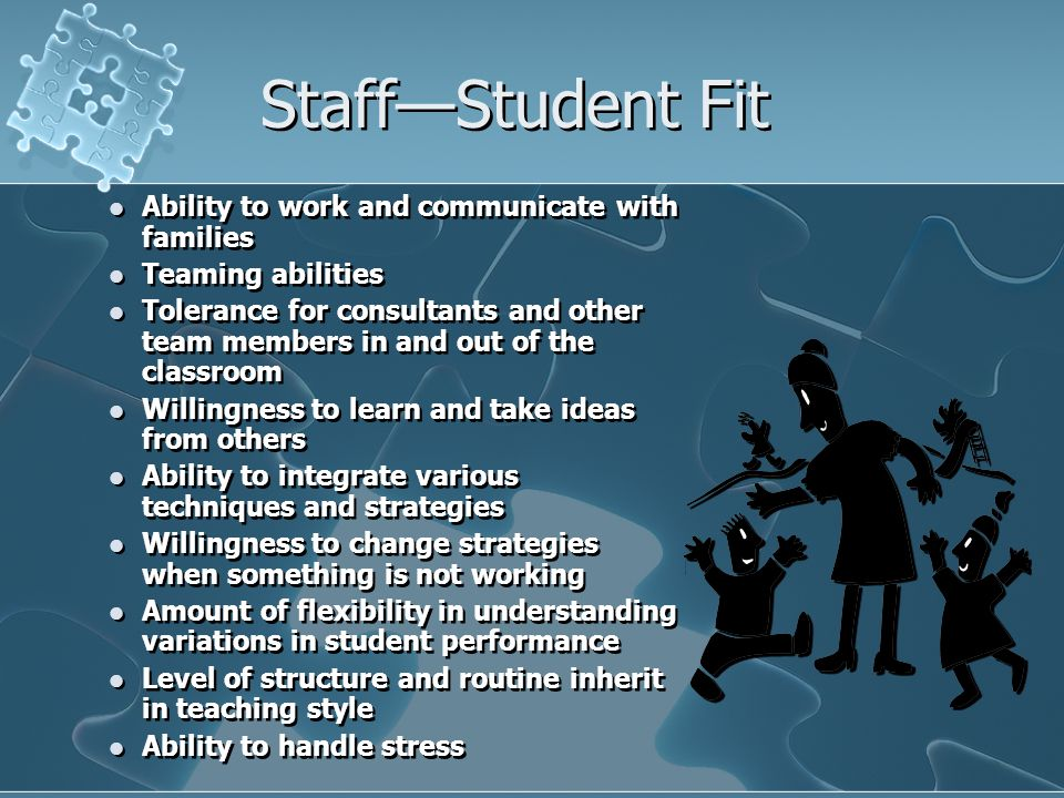 Staff—Student Fit Ability to work and communicate with families