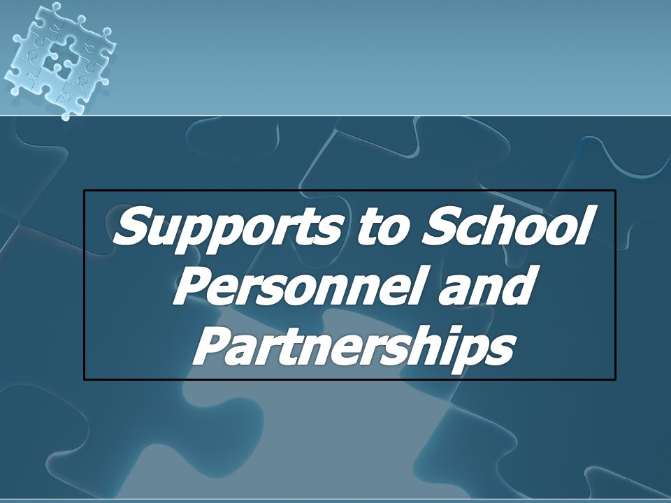 Supports to School Personnel and Partnerships