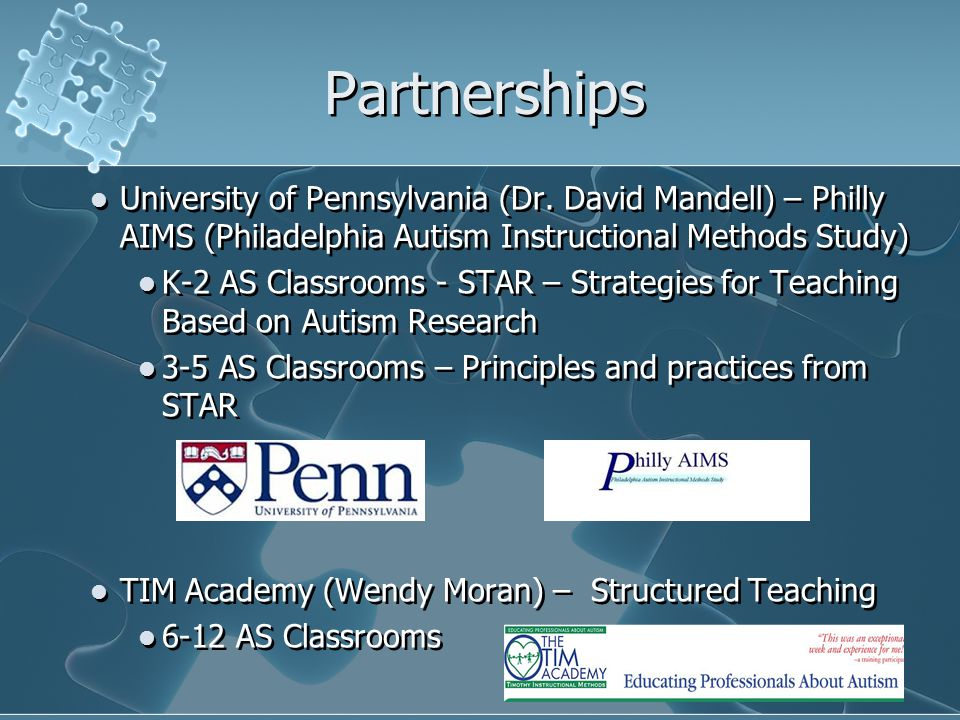 Partnerships University of Pennsylvania (Dr. David Mandell) – Philly AIMS (Philadelphia Autism Instructional Methods Study)
