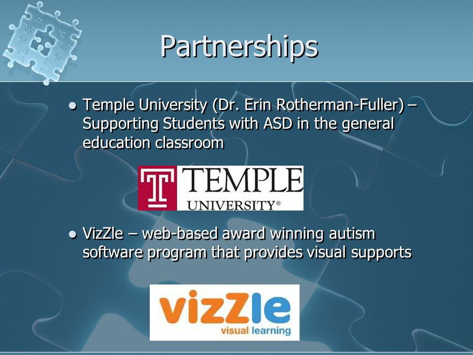 Partnerships Temple University (Dr. Erin Rotherman-Fuller) – Supporting Students with ASD in the general education classroom.