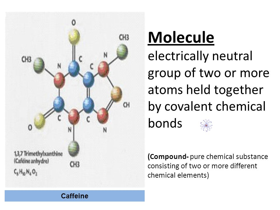 Molecule electrically neutral group of two or more atoms held together by covalent chemical bonds (Compound- pure chemical substance consisting of two or more different chemical elements)