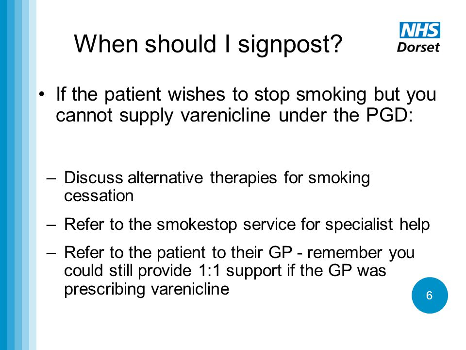 When should I signpost If the patient wishes to stop smoking but you cannot supply varenicline under the PGD: