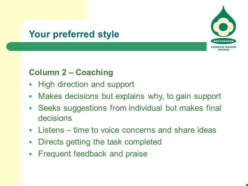 Your preferred style Column 2 – Coaching High direction and support