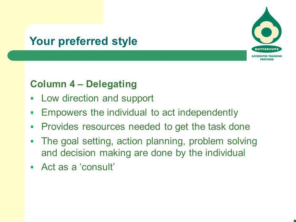 Your preferred style Column 4 – Delegating Low direction and support