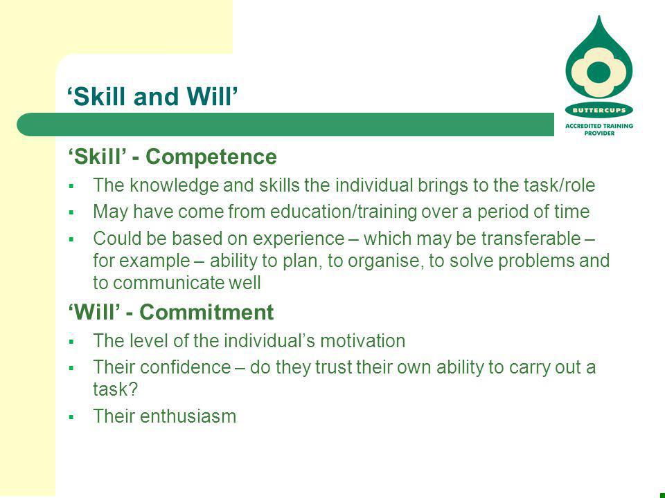 'Skill and Will' 'Skill' - Competence 'Will' - Commitment