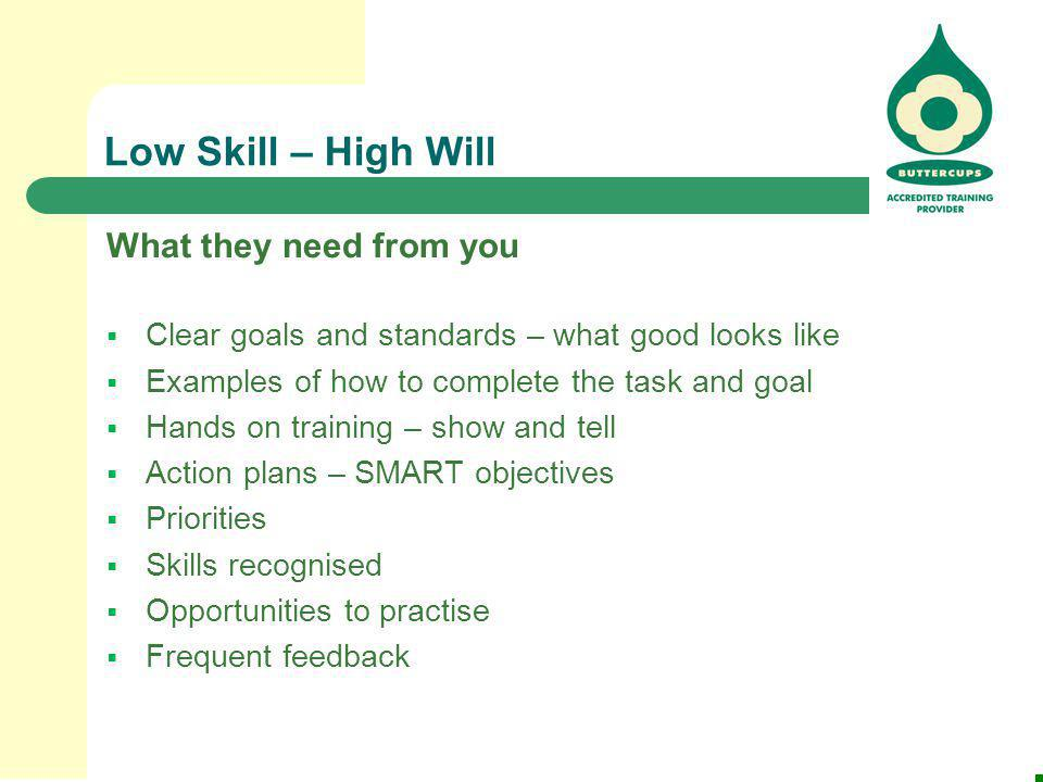Low Skill – High Will What they need from you