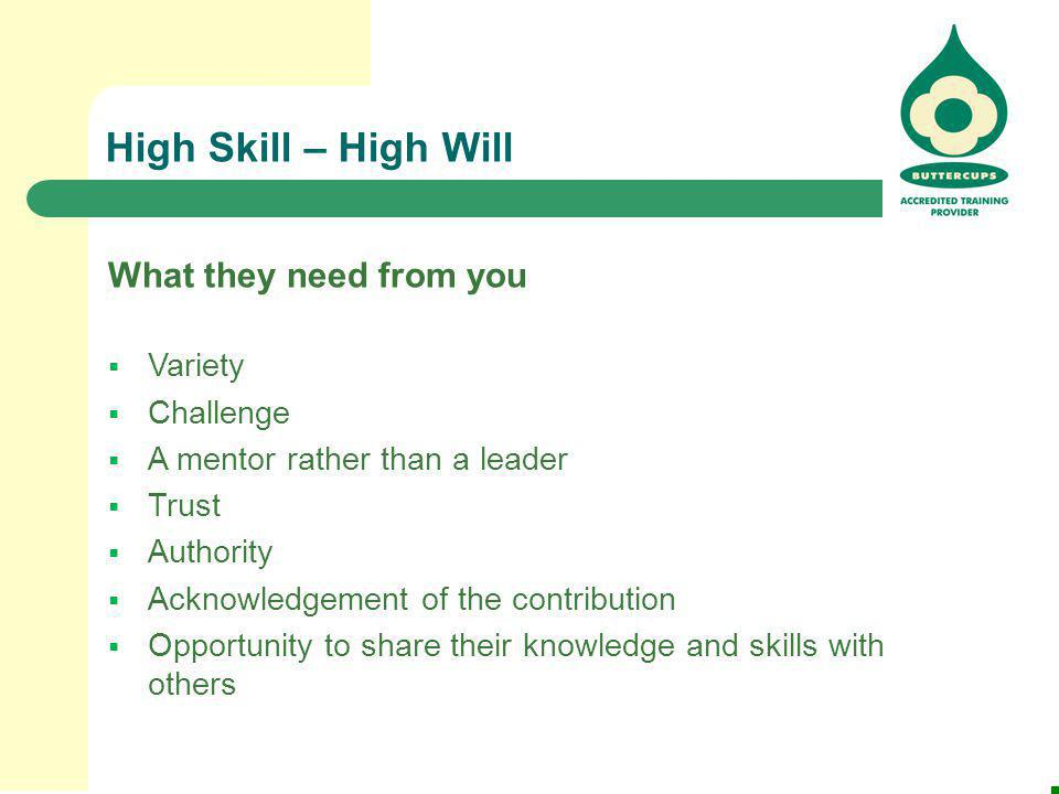High Skill – High Will What they need from you Variety Challenge
