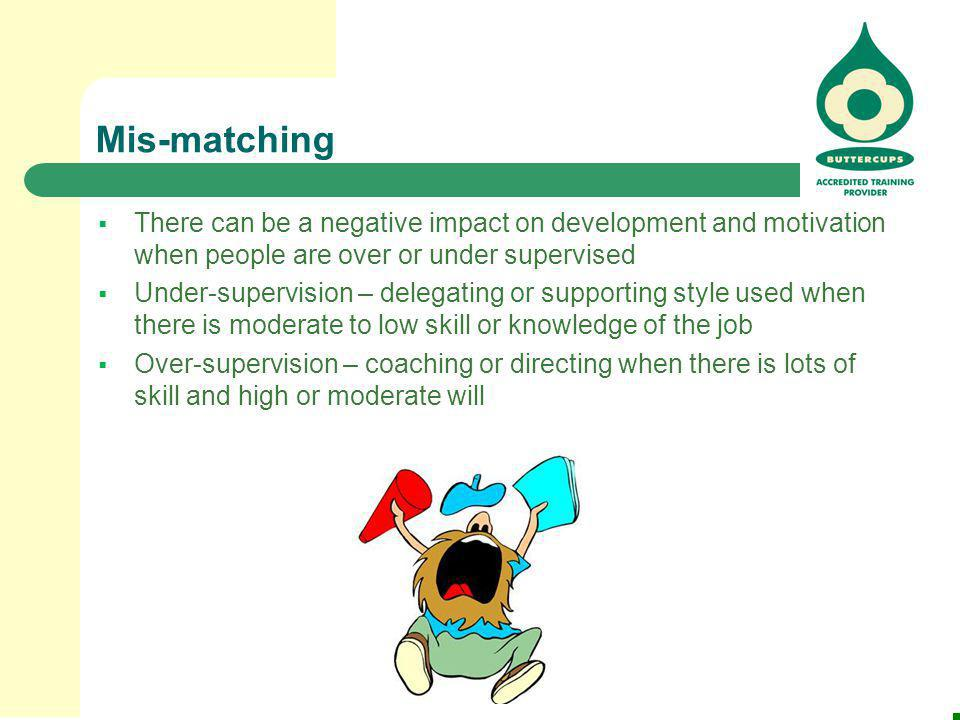 Mis-matching There can be a negative impact on development and motivation when people are over or under supervised.
