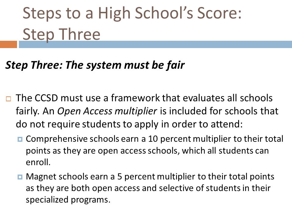 Steps to a High School's Score: Step Three