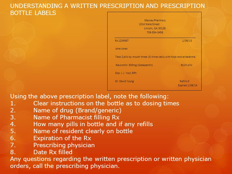 UNDERSTANDING A WRITTEN PRESCRIPTION AND PRESCRIPTION BOTTLE LABELS