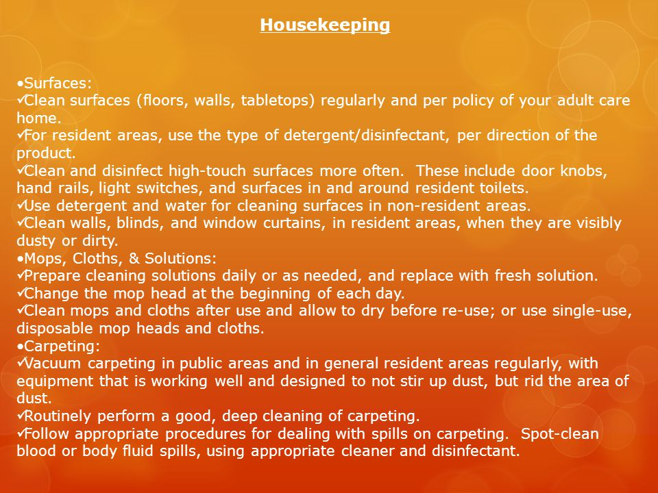 Housekeeping •Surfaces: