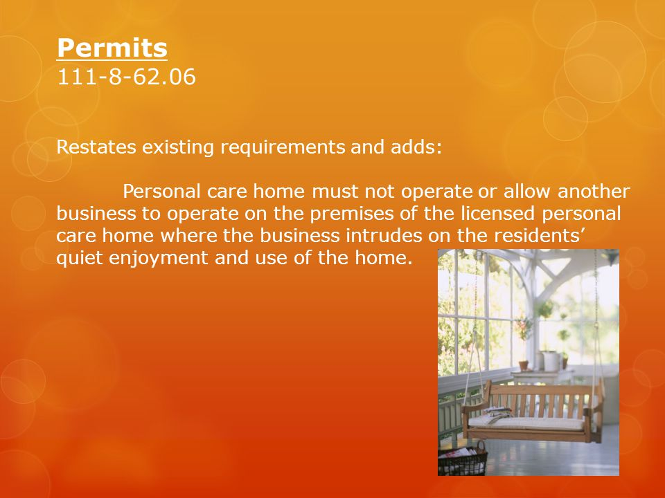 Permits 111-8-62.06 Restates existing requirements and adds: