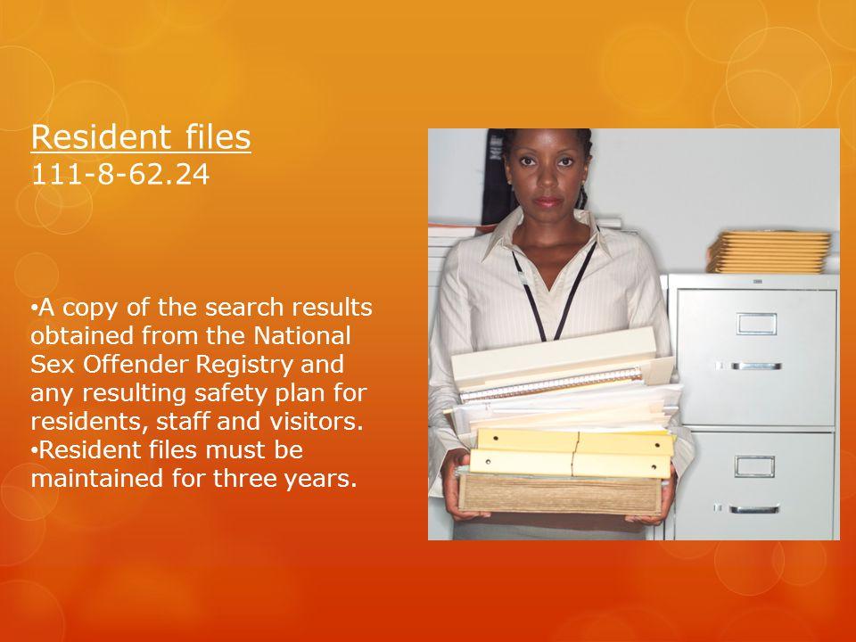 Resident files 111-8-62.24.
