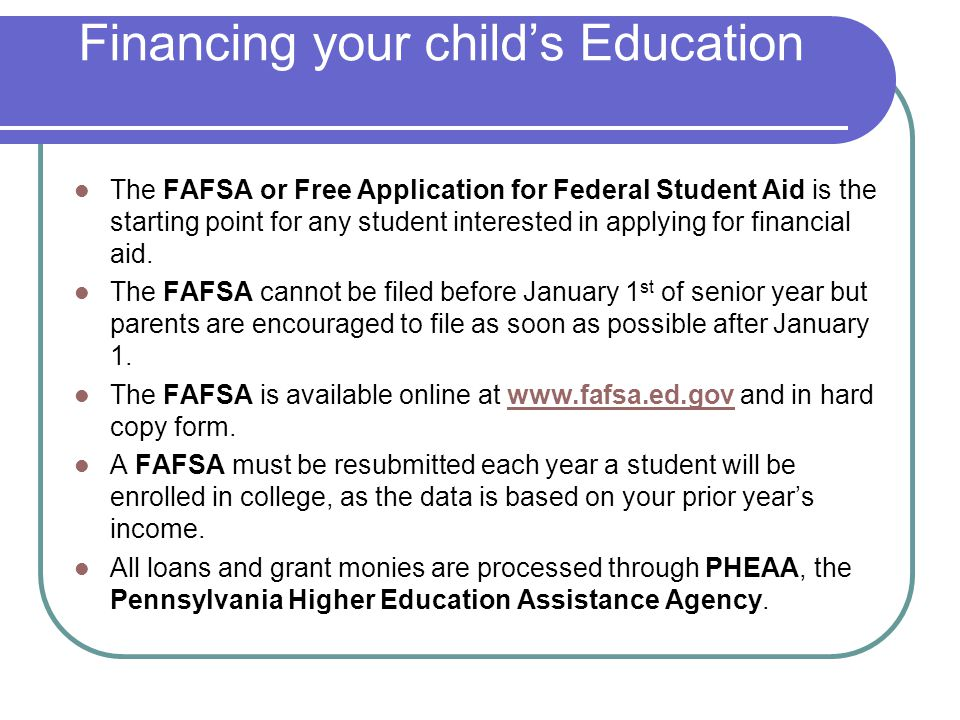 Financing your child's Education